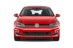 Car photography straight front view of a 2015 Volkswagen Golf Highline 5 Door Wagon 2WD Front View