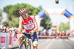 Race leader Odd Christian Eiking (NOR) Intermarché-Wanty-Gobert Matériaux lines up for the start of Stage 14 of La Vuelta d'Espana 2021, running 165.7km from Don Benito to Pico Villuercas, Spain. 28th August 2021.     <br /> Picture: Unipublic/Charly Lopez   Cyclefile<br /> <br /> All photos usage must carry mandatory copyright credit (© Cyclefile   Charly Lopez/Unipublic)