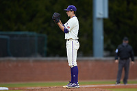 Western Carolina Catamounts starting pitcher Gavin Mortenson (11) looks to his catcher for the sign against the St. John's Red Storm at Childress Field on March 13, 2021 in Cullowhee, North Carolina. (Brian Westerholt/Four Seam Images)