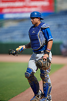 Toronto Blue Jays catcher Chris Bec (10) during an Instructional League game against the Philadelphia Phillies on September 23, 2019 at Spectrum Field in Clearwater, Florida.  (Mike Janes/Four Seam Images)