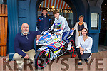 Motorcyclist Kevin Coyne launching his new bike for the 2020 season at Robertion's restaurant Killarney on Tuesday  with l-r:Sandro taddei,  Mark Coyne, Paola and Rita