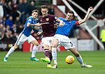 St Johnstone v Hearts…29.09.18…   Tynecastle     SPFL<br />Steven MacLean is tackled by Joe Shaughnessy<br />Picture by Graeme Hart. <br />Copyright Perthshire Picture Agency<br />Tel: 01738 623350  Mobile: 07990 594431