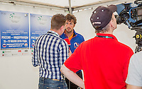 Moscow, Russia, 14 th July, 2016, Tennis,  Davis Cup Russia-Netherlands, The draw, Robin Haase (NED) is being interview by Russian TV<br /> Photo: Henk Koster/tennisimages.com