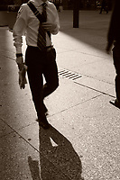 Shadow of a pedestrian on King Street West in downtown Toronto.<br /> <br />     photo by Pierre Roussel - Images Distribution