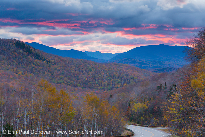 Silhouette of mountains at sunrise along Route 112 in North Woodstock, New Hampshire USA. This area was part of the Gordon Pond Railroad, which was a logging railroad in operation from 1907-1916 (+/-).