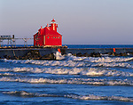Door County, WI<br /> Sturgeon Bay Canal North Pierhead Lighthouse with white cap waves on Lake Michigan shore