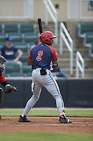 Armond Upshaw (2) of the Hagerstown Suns at bat against the Kannapolis Intimidators at Kannapolis Intimidators Stadium on August 27, 2019 in Kannapolis, North Carolina. The Intimidators defeated the Suns 5-4. (Brian Westerholt/Four Seam Images)