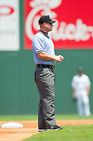 Third base umpire Sean Barber during the International League game between the Gwinnett Braves and the Charlotte Knights at Knights Stadium on July 28, 2013 in Fort Mill, South Carolina.  The Knights defeated the Braves 6-1.  (Brian Westerholt/Four Seam Images)
