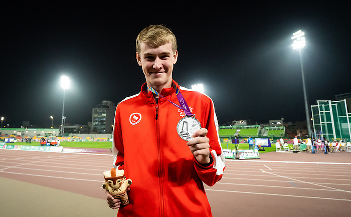 Zachary Gingras, Lima 2019 - Para Athletics // Para-athlétisme.<br /> Zachary Gingras takes the silver medal in the men's 400m T38 // Zachary Gingras remporte la médaille d'argent en 400 m T38 masculin. 27/08/2019.