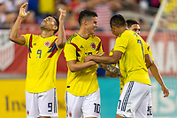 Tampa, FL - Thursday, October 11, 2018: Radamel Falcao, Goal celebration, James Rodriguez during a USMNT match against Colombia.  Colombia defeated the USMNT 4-2.