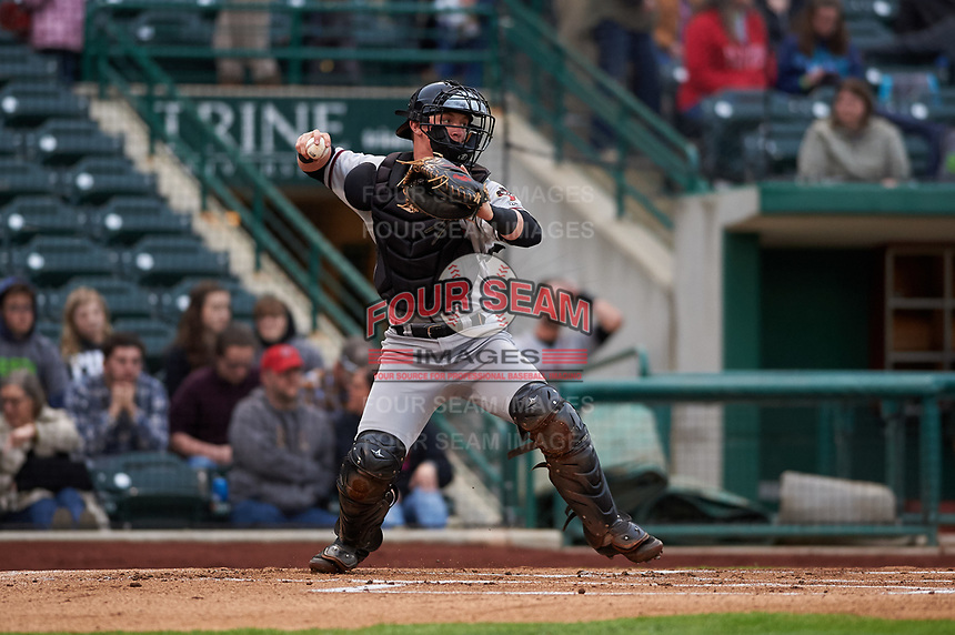 Quad Cities River Bandits catcher Alex Holderbach (14) during a Midwest League game against the Fort Wayne TinCaps at Parkview Field on May 3, 2019 in Fort Wayne, Indiana. Quad Cities defeated Fort Wayne 4-3. (Zachary Lucy/Four Seam Images)