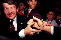 Montreal. CANADA -  November 4, 1990  File Photo - <br /> Jean Dore, Leader, RCM get re-elected as Montreal Mayor.<br /> <br /> File Photo : Agence Quebec Pressse  - Pierre Roussel