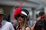 LOUISVILLE, KY - MAY 03: A woman wears a fancy hat on Thurby at Churchill Downs on May 3, 2018 in Louisville, Kentucky. (Photo by Scott Serio/Eclipse Sportswire/Getty Images)