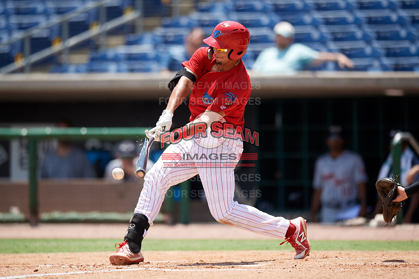 Clearwater Threshers first baseman Darick Hall (21) breaks his bat on a swing during a game against the Lakeland Flying Tigers on May 2, 2018 at Spectrum Field in Clearwater, Florida.  Clearwater defeated Lakeland 7-5.  (Mike Janes/Four Seam Images)
