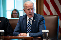 United States President Joe Biden speaks during a cabinet meeting at the White House in Washington, D.C., U.S., on Tuesday, July 20, 2021. Biden administration officials say they're starting to see signs of relief for the global semiconductor supply shortage, including commitments from manufacturers to make more automotive-grade chips for car companies. <br /> Credit: Al Drago / Pool via CNP /MediaPunch