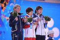 OLYMPICS: SOCHI: Medal Plaza, 13-02-2014, Short Track, Ladies' 500m, Arianna Fontana (ITA), Jianrou Li (CHN), Seung-Hi Park (KOR), ©photo Martin de Jong