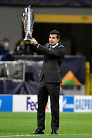 Luis Figo shows the trophy during the Uefa Nations League final match between Spain and France at San Siro stadium in Milano (Italy), October 10th, 2021. Photo Andrea Staccioli / Insidefoto