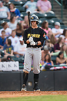 Kevin Newman (5) of the West Virginia Power gets ready to step up to the plate during the game against the Hickory Crawdads at L.P. Frans Stadium on August 15, 2015 in Hickory, North Carolina.  The Power defeated the Crawdads 9-0.  (Brian Westerholt/Four Seam Images)
