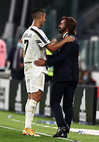 Calcio, Serie A: Juventus - Sampdoria, Turin, Allianz Stadium, September 20, 2020.<br /> Juventus' coach Andrea Pirlo (r) congratulates Juventus' Cristiano Ronaldo (l) after winning 3-0 the Italian Serie A football match between Juventus and Sampdoria at the Allianz stadium in Turin, September 20,, 2020.<br /> UPDATE IMAGES PRESS/Isabella Bonotto