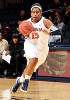 CHARLOTTESVILLE, VA- December 1: Ariana Moorer #15 of the Virginia Cavaliers handles the ball during the game against the Indiana Hoosiers on December 1, 2011 at the John Paul Jones Arena in Charlottesville, Virginia. Virginia defeated Indiana 65-49. (Photo by Andrew Shurtleff/Getty Images) *** Local Caption *** Ariana Moorer