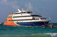 Ferry from Cozumel arriving at Playa del Carmen, Mexico, Yucatan, Riviera Maya.