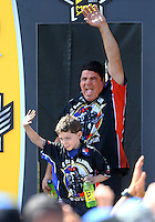 Jul 24, 2016; Morrison, CO, USA; NHRA top fuel driver Terry Haddock with son McKailen Haddock during the Mile High Nationals at Bandimere Speedway. Mandatory Credit: Mark J. Rebilas-USA TODAY Sports
