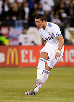 Cristiano Ronaldo scores on the free kick. Real Madrid defeated Club America 3-2 at Candlestick Park in San Francisco, California on August 4th, 2010.