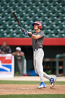 Jeffrey Diaz (13) hits a home run during the Dominican Prospect League Elite Underclass International Series, powered by Baseball Factory, on July 31, 2017 at Silver Cross Field in Joliet, Illinois.  (Mike Janes/Four Seam Images)