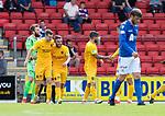 St Johnstone v Livingston….10.08.19      McDiarmid Park     SPFL <br />Steven Lawless celebrates hos goal<br />Picture by Graeme Hart. <br />Copyright Perthshire Picture Agency<br />Tel: 01738 623350  Mobile: 07990 594431