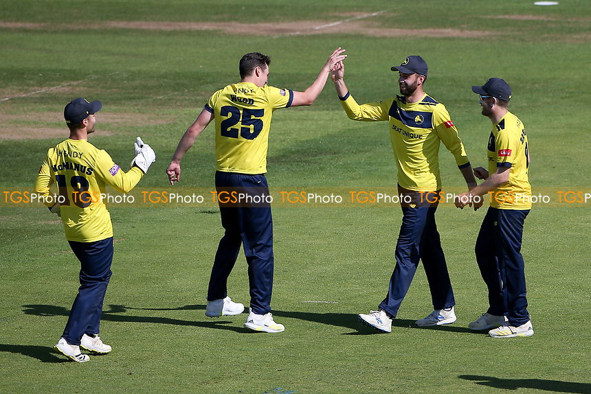 James Vince of Hampshire celebrates with his team mates after running out Paul Walter during Hampshire Hawks vs Essex Eagles, Vitality Blast T20 Cricket at The Ageas Bowl on 16th July 2021