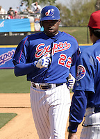 April 1, 2004:  Ron Calloway of the Montreal Expos (Washington Nationals) organization during Spring Training at Space Coast Stadium in Melbourne, FL.  Photo copyright Mike Janes/Four Seam Images