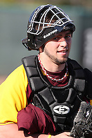 March 7, 2010:  Catcher Jordan Adams of the Central Michigan Chippewas during game at Jay Bergman Field in Orlando, FL.  Central Michigan defeated Central Florida by the score of 7-4.  Photo By Mike Janes/Four Seam Images