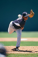 GCL Yankees East relief pitcher Moises Cedeno (71) during a game against the GCL Pirates on August 15, 2016 at the Pirate City in Bradenton, Florida.  GCL Pirates defeated GCL Yankees East 5-2.  (Mike Janes/Four Seam Images)