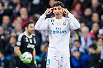 Jesus Vallejo Lazaro of Real Madrid reacts during the UEFA Champions League 2017-18 quarter-finals (2nd leg) match between Real Madrid and Juventus at Estadio Santiago Bernabeu on 11 April 2018 in Madrid, Spain. Photo by Diego Souto / Power Sport Images
