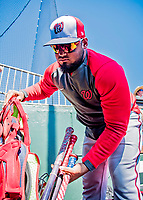 29 February 2020: Washington Nationals catcher Raudy Read unpacks his gear prior to a Spring Training game against the St. Louis Cardinals at Roger Dean Stadium in Jupiter, Florida. The Cardinals defeated the Nationals 6-3 in Grapefruit League play. Mandatory Credit: Ed Wolfstein Photo *** RAW (NEF) Image File Available ***