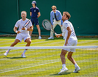 London, England, 6 th. July, 2018, Tennis,  Wimbledon, Men's doubles: Robin Haase (NED) and Robert Lindstedt (SWE) (L)<br /> Photo: Henk Koster/tennisimages.com
