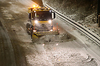 Friday March 02 2018 <br /> Pictured:  Th M4 is closed due to snow making driving hazardous, seen here is a snow plow clearing the carriage way after the motor way became blocked in the early hours of Thursday evening.<br /> Re: Snow hits South Wales in Newport, Wales on 2nd March 2018