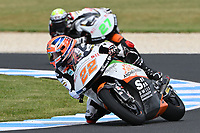 October 27, 2018: Sam Lowes (UK) on the No.22 KTM from Swiss Innovative Investors during the Moto2 practice session three at the 2018 MotoGP of Australia at Phillip Island Grand Prix Circuit, Victoria, Australia. Photo Sydney Low