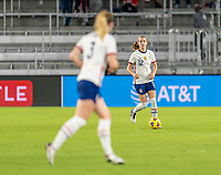 ORLANDO, FL - JANUARY 22: Tierna Davidson #12 of the USWNT dribbles during a game between Colombia and USWNT at Exploria stadium on January 22, 2021 in Orlando, Florida.
