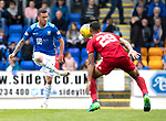 St Johnstone v Aberdeen…15.09.18…   McDiarmid Park     SPFL<br />Danny Swanson and Max Lowe<br />Picture by Graeme Hart. <br />Copyright Perthshire Picture Agency<br />Tel: 01738 623350  Mobile: 07990 594431
