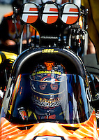 Sept. 5, 2010; Clermont, IN, USA; NHRA top fuel dragster driver Cory McClenathan during qualifying for the U.S. Nationals at O'Reilly Raceway Park at Indianapolis. Mandatory Credit: Mark J. Rebilas-