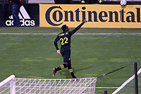 COLUMBUS, OH - DECEMBER 12: Derrick Etienne Jr #22 of the Columbus Crew celebrates scoring the second goal of the game during a game between Seattle Sounders FC and Columbus Crew at MAPFRE Stadium on December 12, 2020 in Columbus, Ohio.