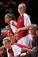 STANFORD, CA - DECEMBER 13:  Grace Mashore, JJ Hones, and Lindy LaRocque of the Stanford Cardinal during Stanford's 96-60 win over DePaul on December 13, 2009 at Maples Pavilion in Stanford, California.