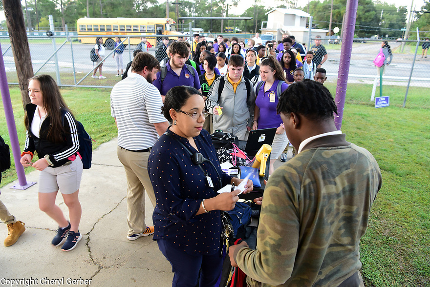 Principal Liza Jacobs at Marksville High School in Marksville, La., Sept. 18, 2017.