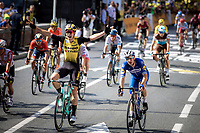 Tour debutant Wout Van Aert (BEL/Jumbo Visma) wins the bunch sprint againsty well established sprinters such as Elia Viviani (ITA/Deceuninck-QuickStep), Caleb Ewan (AUS/Lotto-Soudal), Michael Matthews (AUS/Sunweb) & Peter Sagan (SVK/Bora-Hansgrohe)<br /> <br /> Stage 9: Saint-Flour to Albi (217.5km)<br /> 106th Tour de France 2019 (2.UWT)<br /> <br /> ©kramon