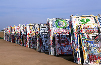 Cadillac Ranch with autos buried in ground off Route 66 in Amarillo, Texas, USA