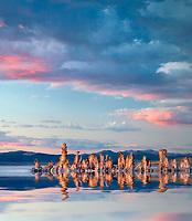 Tufa and sunset.  Mono Lake, California