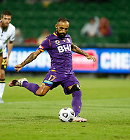 23rd May 2021; HBF Park, Perth, Western Australia, Australia; A League Football, Perth Glory versus Macarthur; Diego Castro of Perth Glory takes a penalty kick and scores to make it 1-0 in the 13th minute