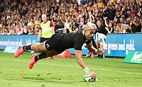 7th November 2020, Brisbane, Australia; Tri Nations International rugby union, Australia versus New Zealand;  Rieko Ioane of The Allblacks scores a try