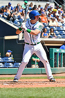 Brian Mundell (15) of the Hartford Yard Goats stands in the batters box during a game against the Binghamton Rumble Ponies at Dunkin Donuts Park on May 9, 2018 in Hartford, Connecticut. (Gregory Vasil/Four Seam Images)